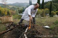 Chef prepares fire